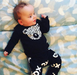 Baby Boys Clothing Bear Letter Long Sleeve Tshirts Tops Pants Set Kids Clothes Outfits Suit BY0000