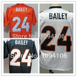 Wholesale Factory Outlet Drop Shipping Old Style Brand Champ Bailey Orange Blue White Mens Throwback Football Jersey Actual Shooting Jerseys