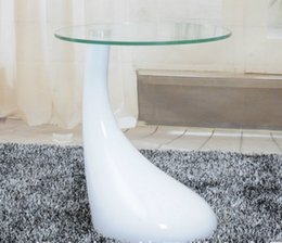 Wholesale Living room furniture modern coffee table glass top ABS base coffee table small round glass coffee table
