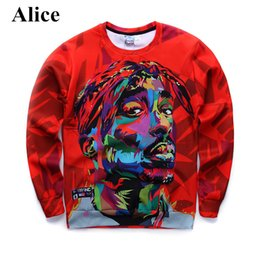 Wholesale Alice New Men Sweatshirts D Harajuku Pac Tupac Biggie American gangster Rap Hoodies women TUPAC SHAKUR CREWNECK Pullover