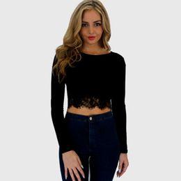 Sexy Ladies Black Red Lace-Trim Tee Crop Top Long Sleeve Scoop Neck Leisure T-Shirt Slim-Fit Short Shirt MDF0274