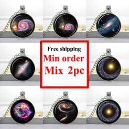 NS--0007 GALAXY NECKLACE UNIVERSE Pendant necklace ASTRONOMY JEWELRY Space universe Art Gifts for Her Turquoise White