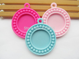 30pcs Pink Hot Pink Light Blue Flatback Resin Round Charm Finding,Beads Border Base Setting Tray Bezel, for 25mm Cabochon Cameo