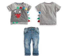 baby boys clothing sets boys dinosaur clothes children short sleeve t shirts + pants jeans kids denim sets baby boutique outfits wholesale