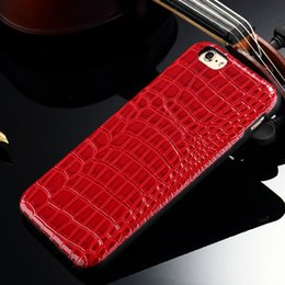 Slim cases tpu Case For iPhone 5 Stick to leather Skin 6s 6 Plus 4.7 5.5 inch Crocodile Grain Leather Cases
