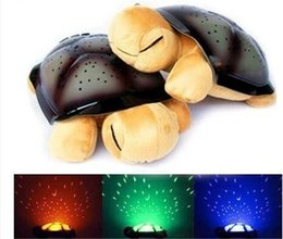 Wholesale Christmas Projection Lamp - 4 Colors Musical Turtle Night Light Stars Constellation Lamp 4 Songs baby bedside led light music Christmas gift Free shipping