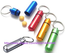 Wholesale 4500pcs Travel aluminum alloy Waterproof Pill Box Case keyring Key Chain Medicine Storage Organizer Bottle Holder Container KeyChain x46mm