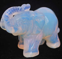Wholesale cheap Moonstone Hand Carved Elephant statue mm