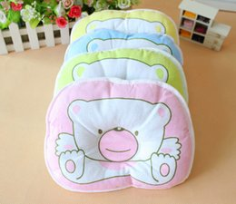 Wholesale New Born Soft Baby Pillow Infant Toddler Lovely Bedding Bear Print Oval Shape Cotton Baby Shaping Pillow