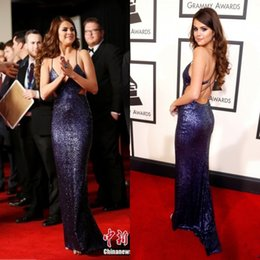 Selena Gomez 2016 Grammys Awards Celebrity Dresses Sequins Spaghetti Sparkle Backless Navy SweepTrain Mermaid Evening Party Dress Red Carpet