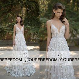 2019 Berta Latest Long Wedding Dresses 3D Flora Appliques Spaghetti V Neck Bridal Gown Custom Made Garden Wedding Dresses High Quality