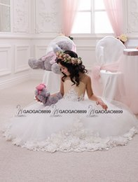 Wholesale Wedding Party Holiday Birthday Bridesmaid Flower Girl Ivory and Beige Tulle Dress Custom Make Little Girls Gift