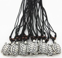 Jewelry Wholesale 12pcs Imitation Bone Carved Lovely Surfing Sea Turtles Pendant Lukcy Necklace MN387