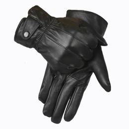Wholesale-Genuine Leather Gloves Men 2015 Winter Glove High Quality Real Sheep Leather Mittens Men Genuine Sheepskin Gloves Winter YG015