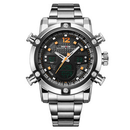 WEIDE 5205 Watch Quartz LED Analog Watches Stainless Steel Strap Alarm Clock Sports Timer Men's Business