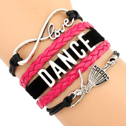 Wholesale Infinity Love Dance Ballerina Ballet Dancer Charm Wrap Bracelets Leather Wax Suede Unisex kid child girls Women Fashion Bracelet Custom