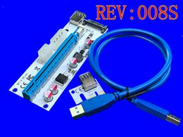 008S 60CM PCI PCIE Express PCI-E 1X to 16X Riser Card Extender 6pin Big 4Pin IDE Power Adaptor USB 3.0 Cable for BTC Miner In Stock