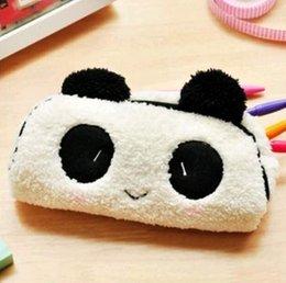Wholesale Kawaii Plush Fluffy Panda Student Pen Pencil BAG Pouch Case Pack Pendant Cosmetics Beauty Pouch Bag Case Coin Purse Wallet BAG FG08147