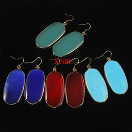 Wholesale New Arrival Oval Stone Earrings Gold k Hook Howlite Turquoise Cat s Eye Gemstone Hook Hanger Pierce Earrings For Women pairs