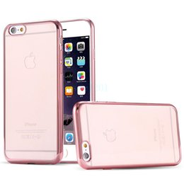 Crystal case plated ultra thin clear transparent gel back cover soft bumper for iphone 6 6s plus