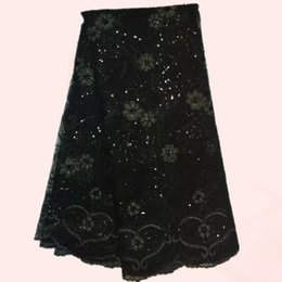 Wholesale Newest french lace fabric African tulle flower embroidery lace fabric for wedding QN5 balck multi color