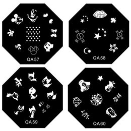 Wholesale Steel Art Stamp - Wholesale-60 Style Octagon Stainless Steel QA series Nail Art Stencils Stamping Template Printing Image Plate Palette 3d nail Mold