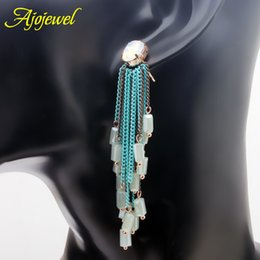 010 Bohemian tassel earrings metal chains women's long crystal earrings handmade beaded jewelry vintage retro