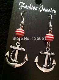 50 Pair Fashion Alloy Silvers Nautical Anchor Charms Pink Bead Long Chandelier Dangle Earrings For Women Jewelry Free Shipping A017