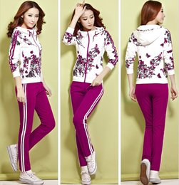 Wholesale New Autumn Women Clothes Fashion Woman Printed Floral Sport Suits Cardigan Hoodies Two piece Jogging Suits Sweatshirt Casual Tracksuits
