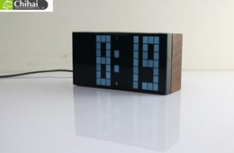 Wholesale Newest Fashion Large Big Jumbo LED Digital Backlight Alarm Clock Timer Temperature Table Clock Electric Clock Wood Grain