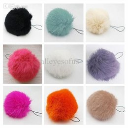 Wholesale-12 Colors Soft Fur Balls Keyrings Tag KeyChain Phone Charms accessories Big 8cm Big Geniune Rabbit Fur Quality DP671434