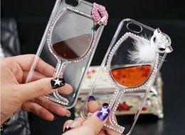 Wholesale 2015 new Float Quicksand Transparent Case bling Red Wine glasses Cocktail Beer Cup Mosaic Rhinestone phone cover for iphone case plus