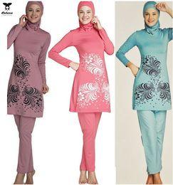 Wholesale Modest islamic Bathing Suit For Women Hijab Hooded Full Body Cover Up Slim Fit Swimsuit New Muslim Swimwear Arab Malaysia islamic Garment
