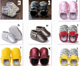 Wholesale 16 Style Baby PU Leather Shoes Moccasins Soft Shoe freshly picked Handmade Camouflage Tassel Toddler Prewalker For T I4343