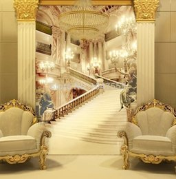 Wholesale 3d murals Living room entrance mural wallpaper wedding photography background painting background palace stairsl photo wallpaper