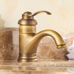 Wholesale Hot sale Bathroom Basin Faucet Antique bronze Brass Mixer Tap single cold hot faucet Deck Mounted Single Handle