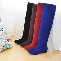 New Hot Fashion Women's Faux Suede Shoes Stretchy Low Heel Pull On Knee High Boots All Size B021