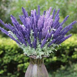 Simulation Flower 12 Head Provence Lavender Flowers Silk Flowers Plant Simulation Plants Artificial Flowers Adornment Hot Style Family Weddi