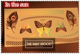 Wholesale The world s first item Laser Bronze Gold silver waterproof beautiful butterfly tattoos X21CM more mix designs