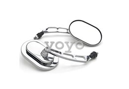 Universal Motorcycle Cruiser Scooter Moped ATV Mirrors Chrome + Bolt Adapters Fits Most, Back mirror