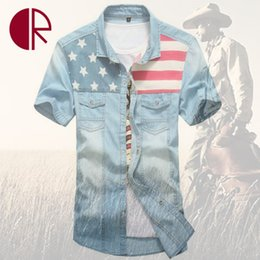 Wholesale- Stylish Mens Denim Shirt Brand High Quality Jean Shirts Flag Print Cotton Short Sleeve Camisa Social Men Jeans Shirts CR617
