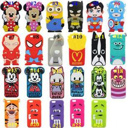Wholesale 3D CARTOON Despicable Me Superman Captain America Mickey Minnie Mouse Duck Batman Silicone Case for Iphone S Plus case mix color