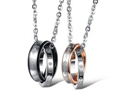 newest reative fashion jewelry necklace Czech diamond forever lovers necklace titanium steel couple necklace
