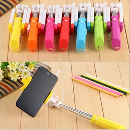 Colorful Rainbow Mini Wired Selfie Stick Handheld Monopod Extendable Foldable Selfie Stick For iPhone Samsung Smartphone Phones