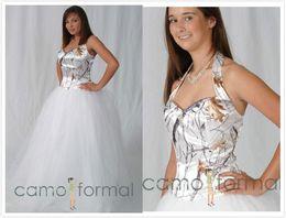 Halter Snow Camo Wedding Dresses With Tulle Skirt White Camouflage Bridal Dresses Crystal Realtree Wedding Gowns 2016 Vestidos De Novia