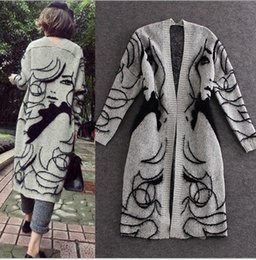 Wholesale Beauty Lady Print Long Sleeve Kniting Big Children Clothing Girls Long Cardigan Tops Kids Clothes Jacket Top Outwear K6434