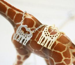 Wholesale China Love Couples - 30PCS- N019 Gold Silver Cute Heart Loving Giraffes Necklace Simple lovely Twin Giraffe Deer Necklace Animal jewelry for couples