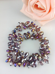 100pcs 6*12mm Purple with Color plating Quartz Faceted Crystal Glass Teardrop Beads Crystal Loose Beads DIY free shipping