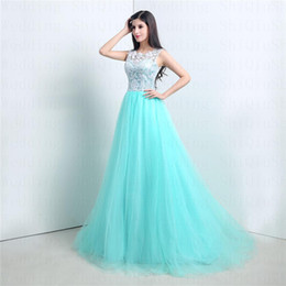 Turquoise Vintage Elegant Lace Tulle Applique Crew praty dresses Bridesmaid gowns covered Button Custom A-Line Prom Dresses diyouth new