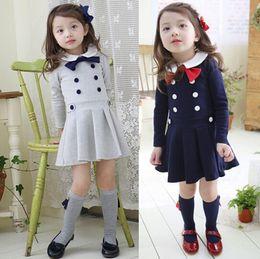 girls long sleeve preppy style dress kids spring autumn dresses baby girls pleated dress cotton dress korean college dress gray dark blue